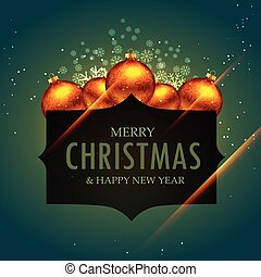 elegant merry christmas greeting design with golden balls and snow flakes