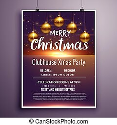 elegant merry christmas party flyer invitation template design