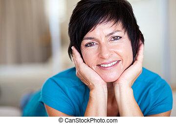 middle aged woman closeup portrait