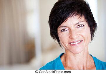 elegant middle aged woman portrait - closeup portrait of ...