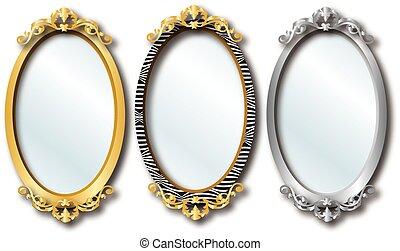 Elegant Mirrors - Vector Illustration of three different...
