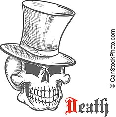 Elegant mister skull in vintage top hat sketch