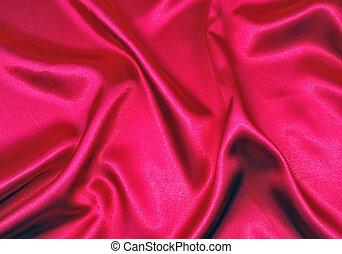 elegant, mjuk, röd, satäng