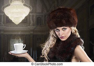 elegant, mode, dam, med, kopp med te