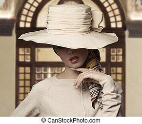 elegant, mode, kvinna