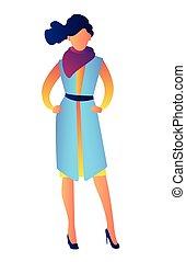 Elegant model wearing fashion dress vector illustration.