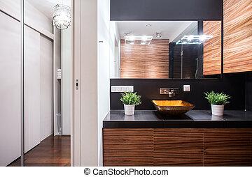 Elegant modern bathroom design - Horizontal view of elegant ...