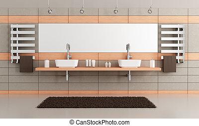 elegant modern bathroom with two washbasin - rendering