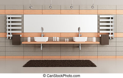 elegant modern bathroom with two washbasin - rendering