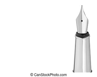 Elegant modern silver fountain pen isolated on white