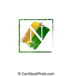 elegant N gold and green splash grunge alphabet logo letter
