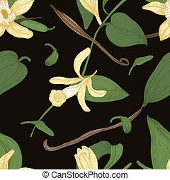 Elegant natural seamless pattern with vanilla, leaves, flowers and fruits or pods on black background. Botanical vector illustration in vintage style for textile print, wallpaper, wrapping paper.