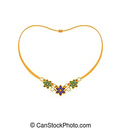 Elegant necklace with flowers made of precious stones. Vector illustration.