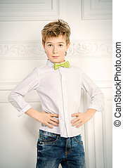 elegant nine year old boy - Fashion concept. Cute nine year...