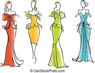 elegant, nymodig, klänningar