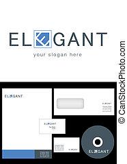 elegant, ontwerp, logo
