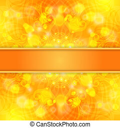 Elegant orange ornate background with lace ornament and ribbon