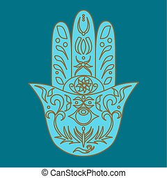 Elegant ornate hand drawn Hamsa.