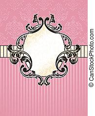 Elegant oval French vintage label - Elegant pink and gold...