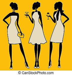 elegant, parti, kvinnor