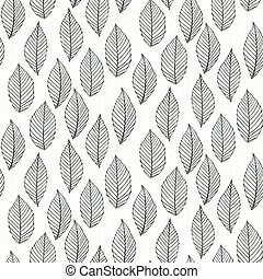 Elegant pattern with leafs drawn in thin lines - Seamless...