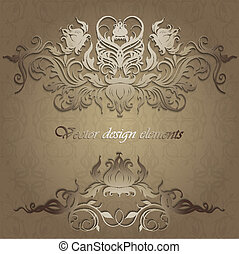 Elegant background with lace ornament and place for text. Floral elements, ornate background. Vector illustration. EPS 10.
