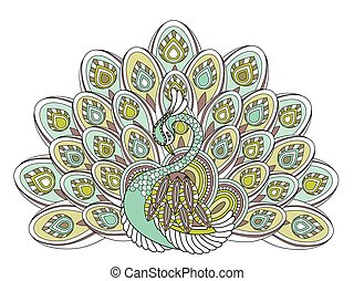 elegant peacock coloring page in exquisite style
