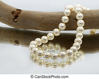 Elegant pearls with reflection very shallow depth of field