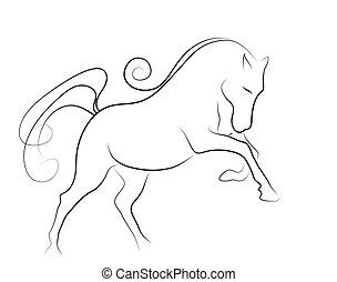 elegant, pferd