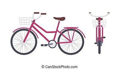 Elegant pink city bike or urban bicycle with step-through...
