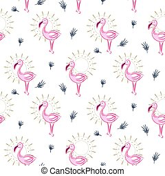Elegant pink flamingo bird seamless vector pattern.