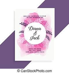 elegant pink watercolor and leaves wedding card design