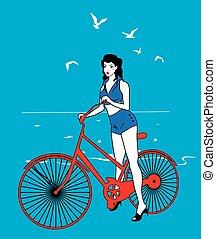 Elegant pinup girl on a bicycle