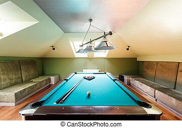 Elegant pool table at the attic - Elegant pool table and...