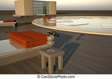 Elegant pool with deckchairs in sunset light