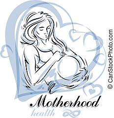 Elegant pregnant woman body silhouette drawing. Vector illustration of mother-to-be fondles her belly. Pregnancy assistance center promotion mock up
