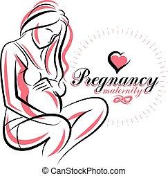 Elegant pregnant woman body silhouette drawing. Vector...