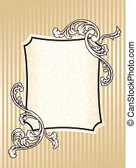 elegant, ram, sepia, rektangulär, årgång