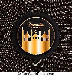 elegant Ramadan Kareem background with gold dots design 0603