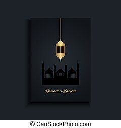 Elegant Ramadan Kareem background with gold hanging lantern