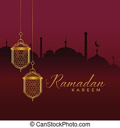 elegant ramadan kareem festival greeting with hanging...