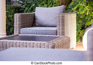 Elegant rattan garden furniture - Close up of elegant rattan...