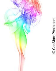 elegant, rauchwolken, regenbogen