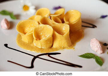 elegant ready pasta meal in italian restaurant