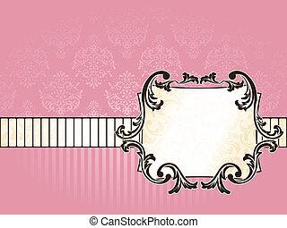 Elegant rectangular French vintage label, horizontal