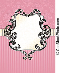Elegant pink and gold label inspired by Rococo era designs. Graphics are grouped and in several layers for easy editing. The file can be scaled to any size.