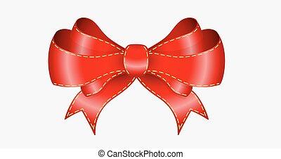 elegant red bow on light gray background