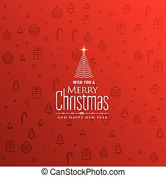 elegant red christmas background with creative tree design