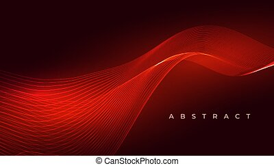 elegant red glowing wave abstract background design