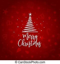 elegant red merry christmas background tree design
